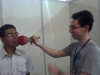Testing the Universal Gripper on a visitor\'s face
